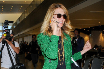 Laura Dern Laura Dern's long green coat at LAX