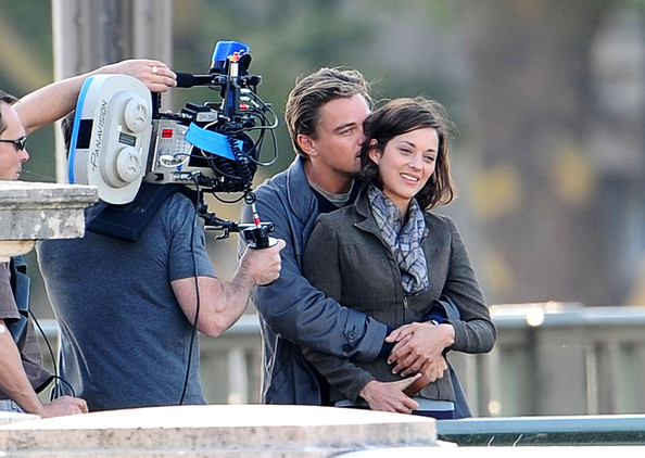"Leonardo DiCaprio Leonardo DiCaprio and Marion Cotillard smooch on the set of their latest film, ""Inception.""."
