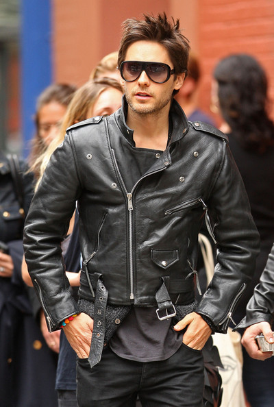 Actor Jared Leto looks cool in a leather jacket in SoHo as he meets up with Moby at Cafe Gitane.