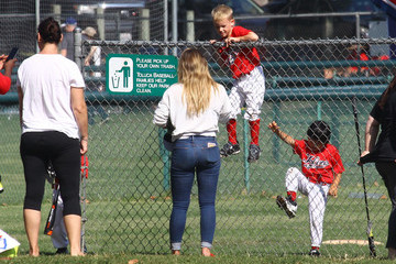 Luca Comrie Hilary Duff and Son Luca Play Baseball