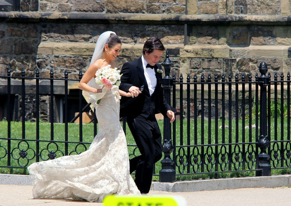 "Mila Kunis and Mark Wahlberg film a wedding scene outside of Union United Methodist Church for their upcoming comedy, ""Ted.""."