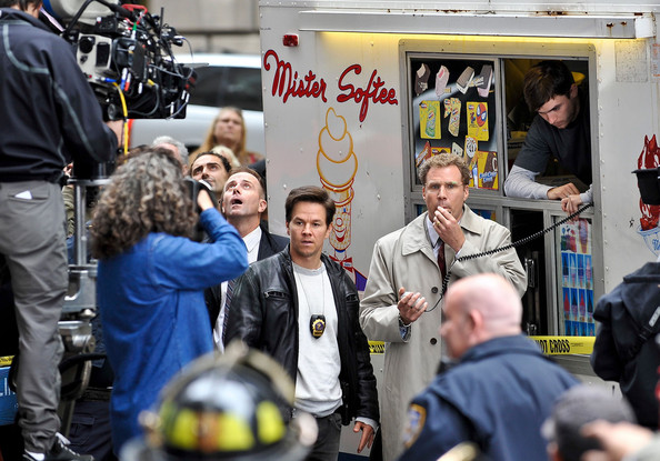 "Actors Mark Wahlberg and Will Ferrell film ""The Other Guys"" in the financial district."