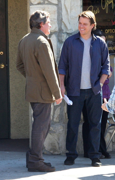 "Matt Damon and Thomas Hayden Church seem to enjoy each others company as they film ""We Bought a Zoo"" in Los Feliz on a sunny afternoon."
