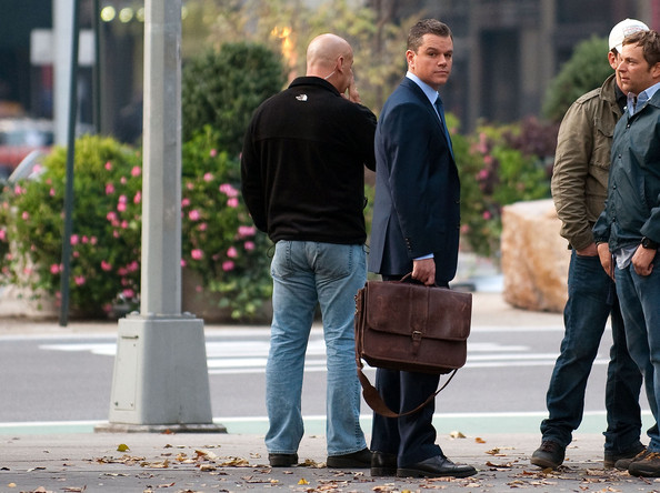 Matt Damon is either working hard or hardly working on the set of
