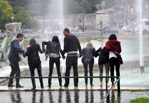 "Miley Cyrus The stars of upcoming film ""LOL: Laughing Out Loud,"" splash around until they are soaked in the Trocadero fountains ."