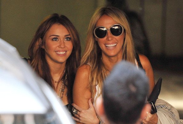"Tish Cyrus Singer Miley Cyrus waers short shorts as she spends the day with her mother Tish and makes an appearance on ""Britain's Got Talent"" at Fountain Studios."