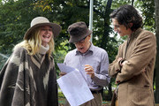 Elle Fanning, Woody Allen and Timothee Chalamet are seen at the movie set of the 'Untitled Woody Allen Project'.