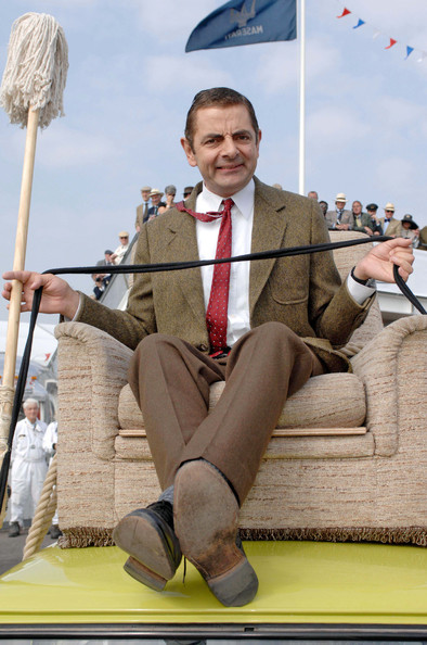 Rowan Atkinson appears as Mr. Bean at the Goodwill Revival motor race festival.