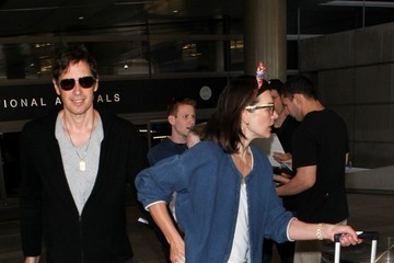 Paul W.S. Anderson Milla Jovovich and Paul WS Anderson at LAX