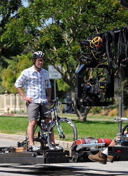 Paul Rudd films a bike scene for 'This Is Forty'.