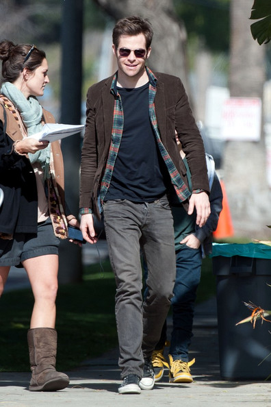 "Chris Pine smiles as he walks to set as he continues filming ""Welcome to People"" in Los Angeles."