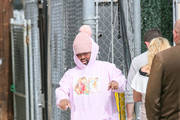 Pink Sweats is seen arriving at 'Jimmy Kimmel Live' in Los Angeles, California.