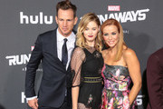 Kip Pardue, Virginia Gardner and Annie Wersching are seen attending the premiere of Hulu's 'Marvel's Runaways' at The Regency Bruin Theatre in Los Angeles, California.