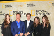 Christina Schwarzenegger, Arnold Schwarzenegger, Patrick Schwarzenegger, Maria Shriver and Katherine Schwarzenegger are seen arriving at the premiere of National Geographic's 'The Long Road Home' at Royce Hall in Los Angeles, California.