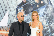 Jason Statham and Rosie Huntington-Whiteley are seen arriving at the premiere of Universal Pictures' 'Fast and Furious Presents: Hobbs and Shaw' at Dolby Theatre in Los Angeles, California.