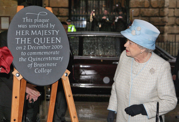 Queen Elizabeth II attends the Quincentenary of Brasenose College and gets presented with an honorary plaque.