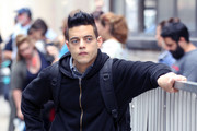 Rami Malek on the film set of the 'Mr. Robot'