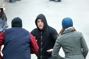 Performers are seen on set for 'Mr. Robot' on March 18, 2019.