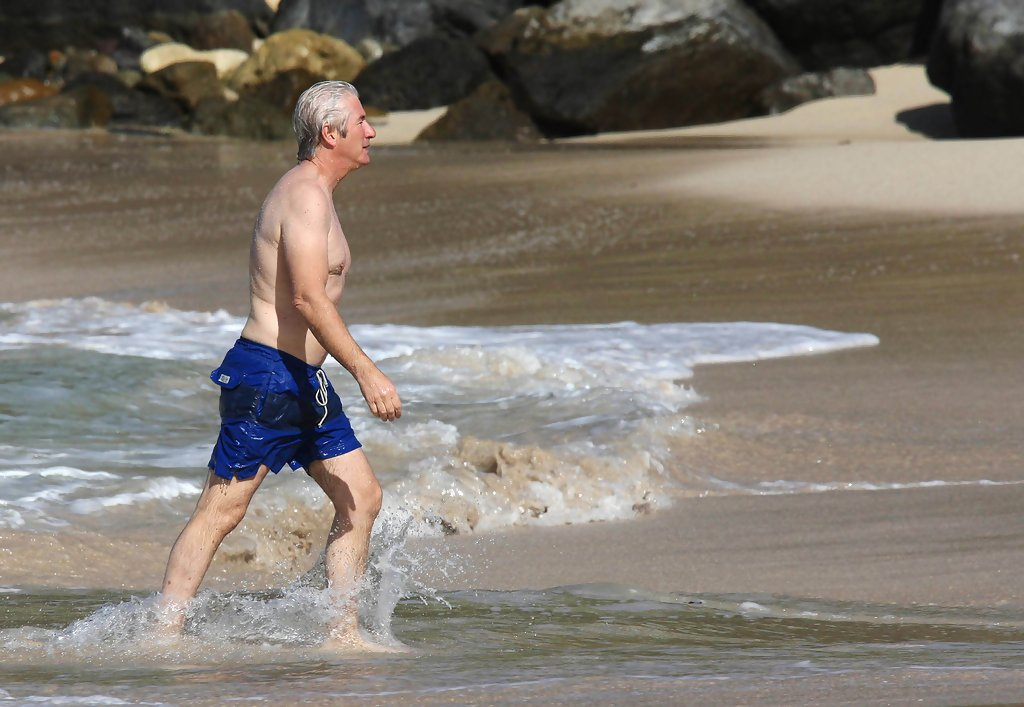 richard gere in richard gere at the beach with his family