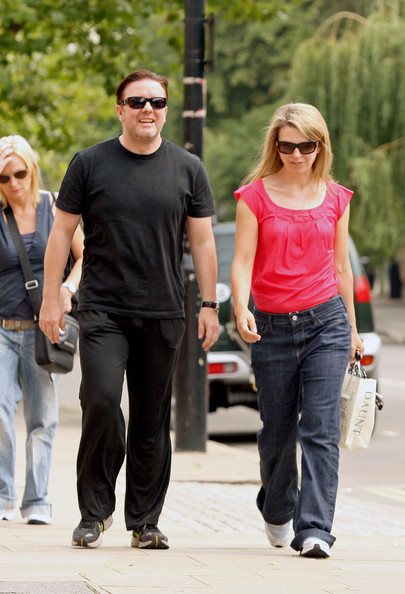 Ricky Gervais with beautiful, Girlfriend Jane Fallon