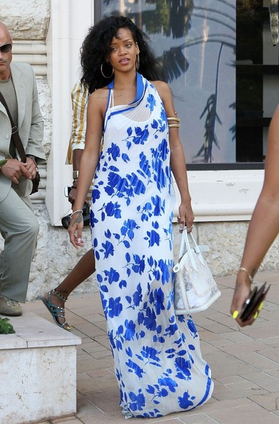 Rihanna halter neck beach dress
