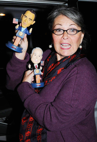 ben thomas roseanne barr. Roseanne Barr shows off her bobblehead dolls of presidential candidates Barack Obama and John McCain. Roseanne is appearing as a guest star at quot;The Late