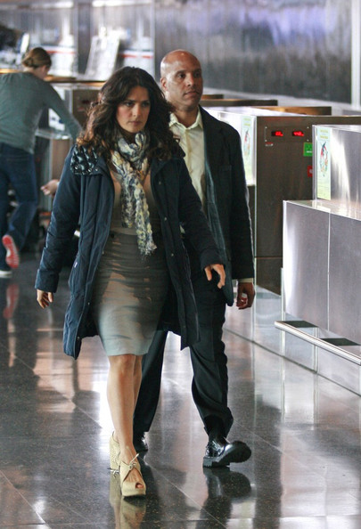 Salma Hayek films scenes for 'Here Comes the Boom' at Boston Logan International Airport.