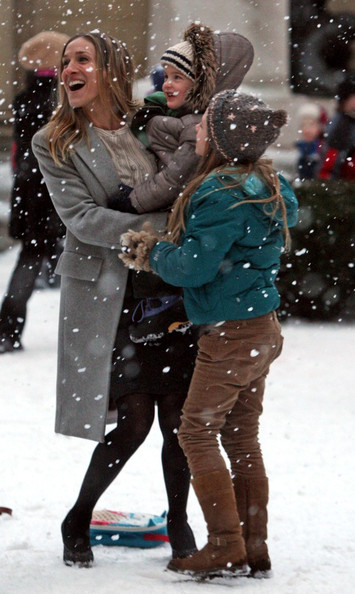 "Sarah Jessica Parker ""I Don't Know How She Does It"" films in the snow in Brooklyn."