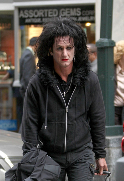 "Sean Penn sports a wig and makeup to portray a retired rock star as he films ""This Must Be the Place"" in the Diamond District."
