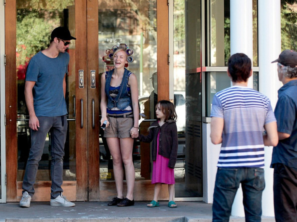 "Alexander Skarsgard and Joanna Vanderham chat and laugh between filming scenes for their upcoming film ""What Maisie Knew"" with a young co-star."
