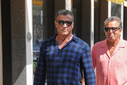 Sylvester Stallone Goes Out in Blue Plaid in Beverly Hills
