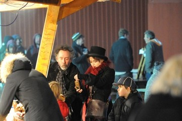 Tim Burton Helena Bonham Carter and Family at Winter Wonderland