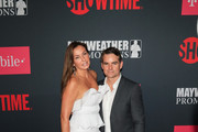 Jeff Gordon and Ingrid Vandebosch are seen arriving during the Showtime, WME IME and Mayweather Promotions VIP Pre-Fight party for Mayweather vs McGregor at T-Mobile Arena in Las Vegas, Nevada.