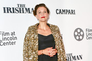 Maggie Gyllenhaal is seen attending 'The Irishman' premiere during the 57th New York Film Festival at Alice Tully Hall, Lincoln Center in New York City.