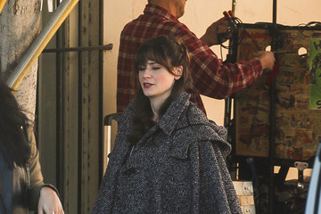 Zooey Deschanel Zooey Deschanel Goes out in a Poncho