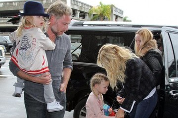 Ace Knute Johnson Jessica Simpson & Family Departing On A Flight At LAX