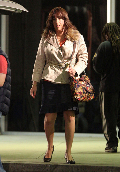 Actor Adam Sandler dressed in drag and shooting an airport scene for the movie 'Jack And Jill' at LAX airport in Los Angeles, CA.