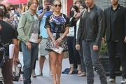 'American Idol' judges Jennifer Lopez, Keith Urban, and Harry Connick Jr. are seen filming for the 'Hollywood Week' auditions on October 27, 2014 in Los Angeles, California. The 14th season of American Idol is set to premiere on the FOX network on January 14, 2015.