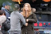 Actress Amy Adams on the set of 'Man Of Steel' on Vancouver Island in Vancouver, Canada. Amy who plays Lois Lane is interviewing a waitress at an Alaskan Truck Stop while the military searches for Superman. Also on set was Director Zack Snyder.