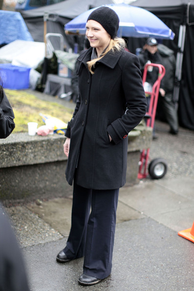"Actress Anna Torv seen on the set of ""Fringe"" at the University Of British Columbia in Vancouver, Canada."