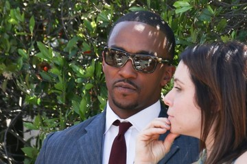 Anthony Mackie Celebs Stop by the 'Extra' Set