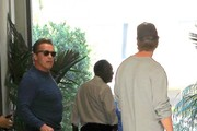 Actor Arnold Schwarzenegger is spotted grabbing lunch with his son Patrick at Cafe Roma in Beverly Hills, California on March 28, 2017.