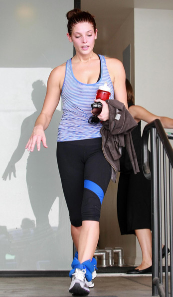 Actress Ashley Greene seen leaving a gym still wearing her ankle weights in Studio City, CA.