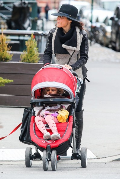 TV personality Bethenny Frankel and her daughter Bryn Hoppy out for a stroll with a friend in New York City, New York on April 5, 2014.