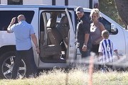 Singer Britney Spears and boyfriend David Lucado watching her sons Sean and Jayden play soccer in Calabasas, California on October 19, 2013.