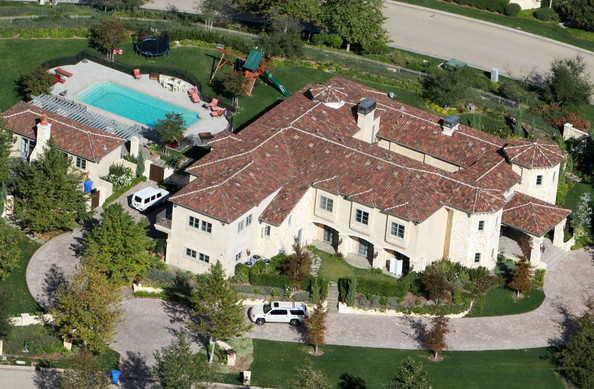 Aerial shots of Britney Spears home in Calabasas, CA.