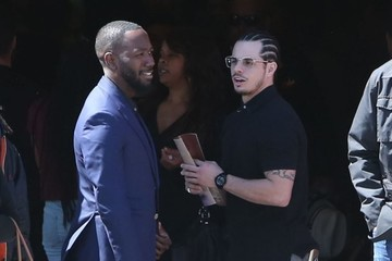 Casper Smart Kim Kardashian and Kanye West Attend the Funeral for Kanye's Nephew
