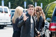 Celebrities at Universal Studios to do an interview for the show EXTRA in Universal City, California on May 21, 2014.<br /> Pictured: Jason Biggs, Jenny Mollen