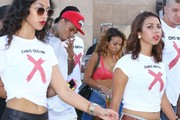 Singer Chris Brown and his on-again girlfriend Karrueche Tran join his street team to promote his new album 'X' in Los Angeles, California on September 16, 2014. Chris and his crew rode around on a Star Line Tour bus and made stops along the way to pose with fans. Singer Omarion was also spotted out and stopped to chat with Chris.