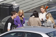 "Exclusive: The dancers of hit TV series ""Dancing with the Stars"" congregated in the parking lot for a chat after a rehearsal at a local studio in Los Angeles, California on February 28, 2012. Pictured: Chelsie Hightower, Cheryl Burke, Kym Johnson and Tristan MacManus"